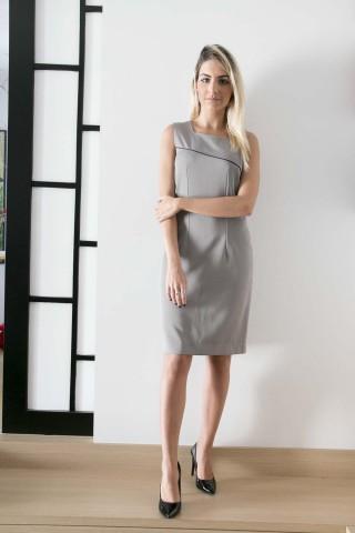 Vestido Tubinho Cinza com Viés - Tecido Two Way